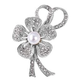 Simulated Pearl and White Austrain Crystal Floral Design Brooch