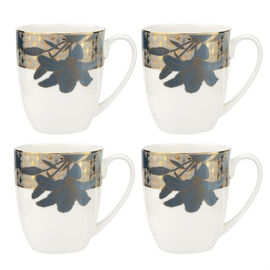 Set of 4 - Royal Worcester Blue Lily Mugs in White and Blue (10x6cm Each)