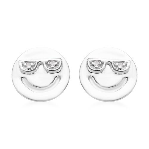 Diamond Happy Smiley Stud Earrings (with Push Back) in Platinum Overlay Silver, Silver wt 1.30 gms