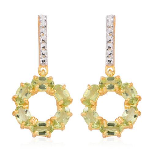 Hebei Peridot (Ovl) Earrings (with Push Back) in 14K Gold Overlay Sterling Silver 3.000 Ct.