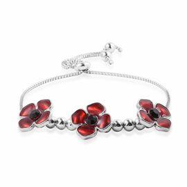Black Austrian Crystal Flower Enamelled Adjustable Bracelet (Size 6.5 to 9.5) in Silver Tone