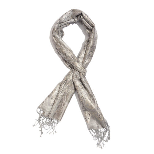 SILK MARK- 100% Superfine Silk Silver and Multi Colour Jacquard Jamawar Scarf with Fringes (Size 180x35 Cm)