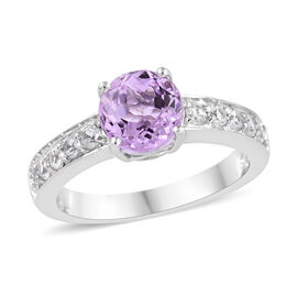 2 Carat Kunzite and Cambodian Zircon Solitaire Ring in Platinum Plated Sterling Silver