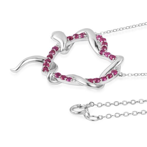 Designer Inspired-Burmese Ruby (Rnd) Immortal Love Necklace (Size 18) in Rhodium Plated Sterling Silver 1.250 Ct., Silver wt 5.00 Gms.