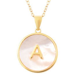 White Mother of Pearl Initial A Pendant with Chain (Size 18) in Gold Overlay Sterling Silver
