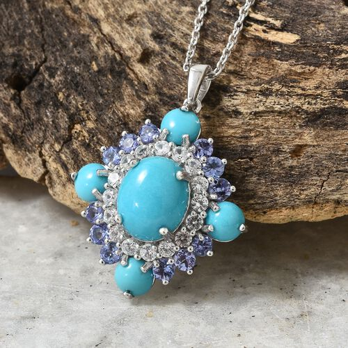 Arizona Sleeping Beauty Turquoise (Ovl 3.45 Ct), Tanzanite and Natural Cambodian Zircon Floral Pendant with Chain (Size 20) in Platinum Overlay Sterling Silver 9.250 Ct. Silver wt 6.70 Gms.