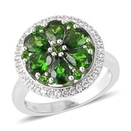 3.33 Ct Russian Diopside and Multi Gemstone Floral Ring in Rhodium Plated Silver 5.79 Grams