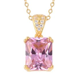 ELANZA Simulated Pink Sapphire (Oct), Simulated Diamond Pendant With Chain (Size 18) in 14K Gold Ove