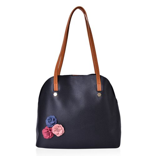 Set of 2 - Multi Colour 3D Flowers Embellished Black Colour Handbag (Size 34X29X15 Cm) and Pouch (Size 27X20X7 Cm)