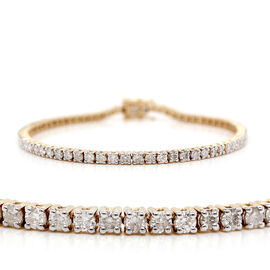 9K Yellow Gold EGL Certified Diamond (Rnd) (I1-I2/G-H) Tennis Bracelet (Size 7.25) 2.07 Ct, Gold wt