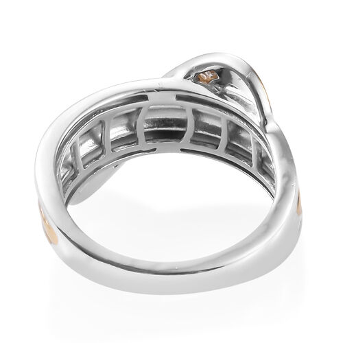 Designer Inspired Diamond Crossover (Bgt) Ring in Platinum and Yellow Gold Overlay Sterling Silver 0.150 Ct.