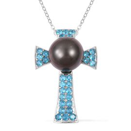 Tahitian Pearl and Malgache Neon Apatite Cross Pendant with Chain in Rhodium Plated Silver