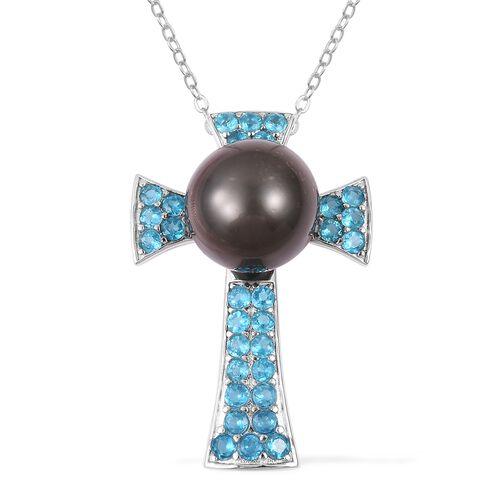 Tahitian Pearl and Malgache Neon Apatite Cross Pendant with Chain in Rhodium Plated Silver