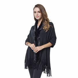 Designer Inspired-Black Colour Faux Fur Wrap with Tassels (Size 170X65 Cm)