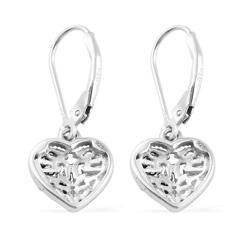 Blue and White Diamond (Bgt) Heart Earrings (with Lever Back) in Platinum Overlay with Blue Plating Sterling Silver 0.500 Ct.