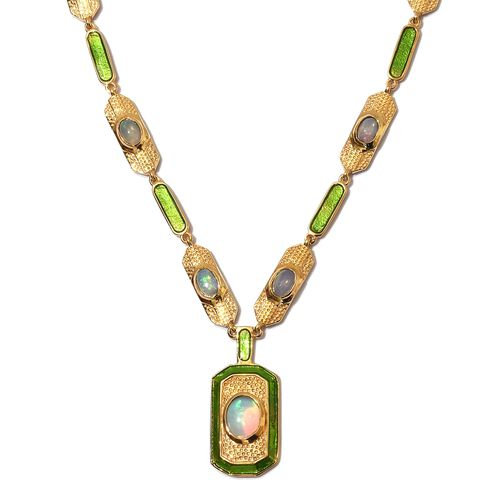 Ethiopian Welo Opal Enamelled Necklace (Size 18 with 2 inch Extender) in 14K Gold Overlay Sterling Silver wt. 21.76 Gms