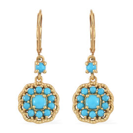 SLEEPING BEAUTY TURQUOISE (2.00 Ct) 14K Gold Overlay Sterling Silver Earring  2.000  Ct.