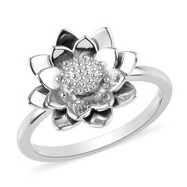 Platinum Overlay Sterling Silver Floral Ring