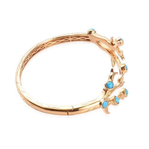 Sundays Child - Arizona Sleeping Beauty Turquoise Bangle (Size 7.5 with Hinge) in 14K Gold Overlay Sterling Silver 2.50 Ct, Silver wt. 28.02 Gms