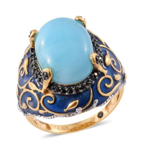 GP Larimar (Ovl 10.43 Ct), Boi Ploi Black Spinel and Kanchanaburi Blue Sapphire Filigree Enameled Ri
