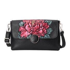 100% Genuine Leather Red Peony Embossed Pattern Crossbody Bag (25x18x7cm) with Magnetic Closure in B
