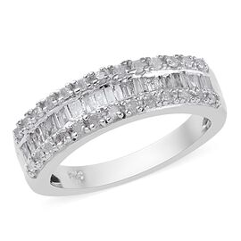0.50 Ct Diamond Half Eternity Band Ring in Platinum Plated Sterling Silver