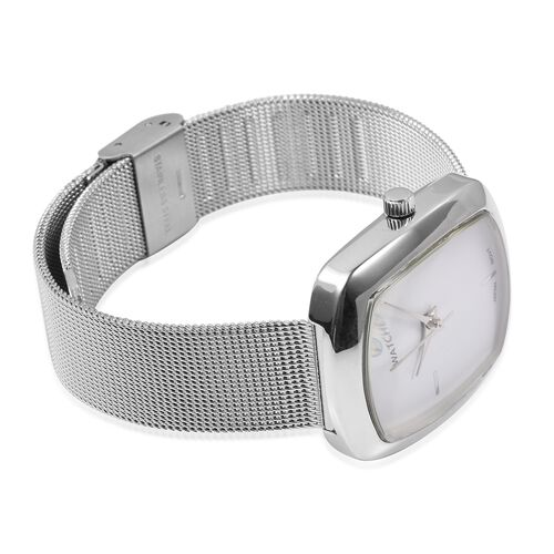 STRADA Japanese Movement White Dial Water Resistant Watch in Silver Tone