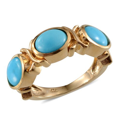 Arizona Sleeping Beauty Turquoise (Ovl) 3 Stone Ring in 14K Gold Overlay Sterling Silver 3.000 Ct.