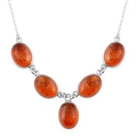 Baltic Amber Y Necklace in Sterling Silver 15 Grams 19 Inch