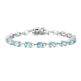 Sky Blue Topaz Line Bracelet in Rhodium Plated Silver 6 Grams 7 Inch