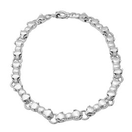 Panther Head Chain Necklace in Rhodium Plated Silver 62.52 Grams 20 Inch