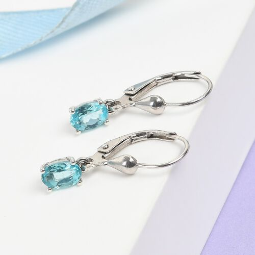 Blue Apatite Solitaire Lever Back Earrings in Platinum Overlay Sterling Silver 1.00 Ct.