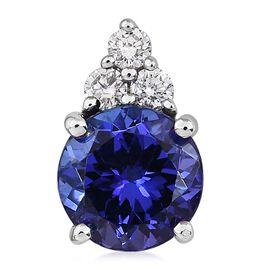 RHAPSODY 950 Platinum AAAA Tanzanite (Rnd), Diamond (VS/E-F) Pendant  1.75 Ct.