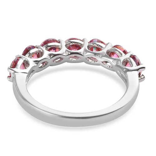 J Francis - Platinum Overlay Sterling Silver Half Eternity Ring Made with Red SWAROVSKI ZIRCONIA 3.20 Ct.