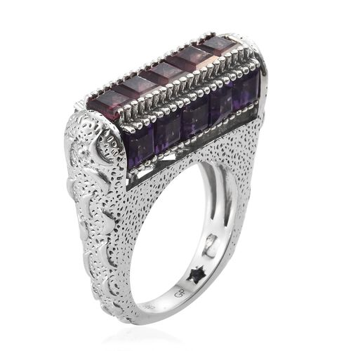 GP Rhodolite Garnet (Sqr), Sky Blue Topaz, Hebei Peridot, Amethyst and Kanchanaburi Blue Sapphire Ring in Platinum Overlay Sterling Silver 8.000 Ct. Silver wt 8.83 Gms.