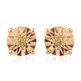 Yellow Diamond (Rnd) Stud Earrings (with Push Back) in 14K Gold Overlay Sterling Silver
