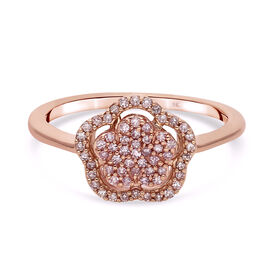Close Out Deal- 9K Rose Gold Natural Pink Diamond (I3) Floral-Inspired Ring 0.25 Ct.