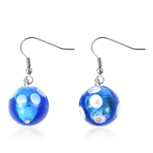 Blue Colour Murano Glass Drop Hook Earrings in Stainless Steel