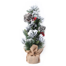 Christmas Tree With Snow Flocking & Baubles Embellished With  Pine Nuts and Red Berries (Height 60cm