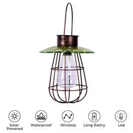Garden Decorative Vintage Solar Light Lantern (Size:17x17x80Cm) - Green