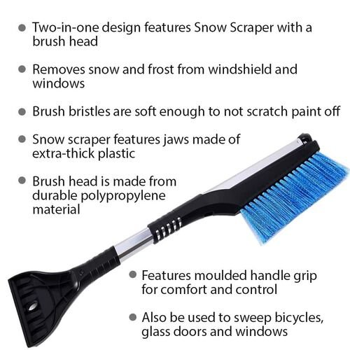 2 Piece Set - Car Windshield Cover (128x60 Cm) with 2-in-1 Telescopic Snow Scraper and Brush (61-86 Cm) - Silver, Black and Blue