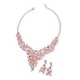 2 Piece Set Pink and White Colour Crystal Choker Necklace and Drop Earring 20 Inch