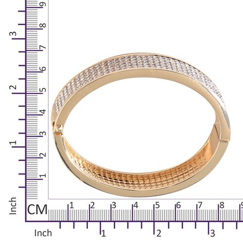 Designer Inspired- Austrian White Crystal Bangle (Size 7.5 ) in Gold Plated