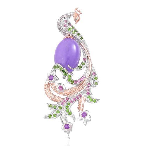 Designer Inspired-Purple Jade (Ovl 11.25 Ct), Amethyst, Rhodolite Garnet, Russian Diopside and Natural White Cambodian Zircon Peacock Pendant in Rose Gold and Rhodium Plated Sterling Silver 12.690 Ct.