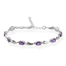 Amethyst Bracelet (Size 6.5 with 2 inch Extender) with Lobster Clasp in Sterling Silver 3.36 Ct.