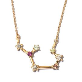 Multi gemstones Fancy Necklace in 14K Gold Overlay Sterling Silver 1.55 ct  1.547  Ct.