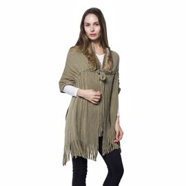 Dark Green Colour Faux Fur Scarf with Collar and Tassels (Size 165x50 Cm)