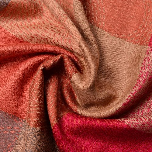 Orange, Red and Multi Colour Checker Pattern Scarf with Tassels (Size 185X70 Cm)