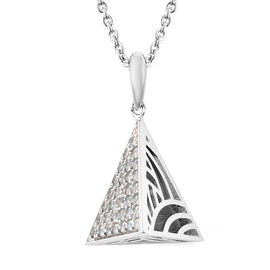 Isabella Liu Sea Rhyme Collection - AA Ratanakiri Blue Zircon Pyramid Shape Pendant with Chain (Size