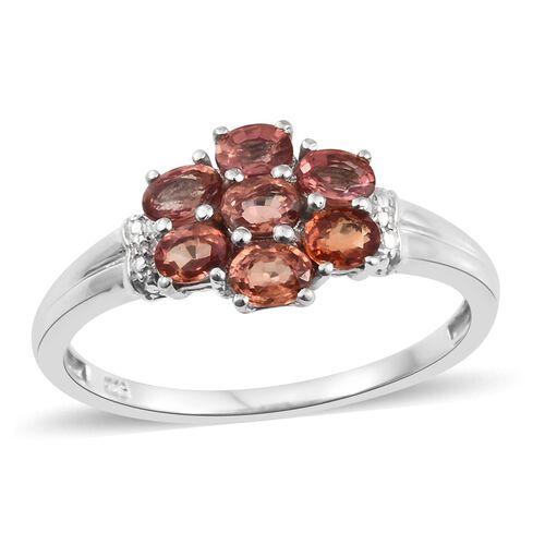 Orange Sapphire (Ovl) 7 Stone Flower Ring in Platinum Overlay Sterling Silver 1.750 Ct
